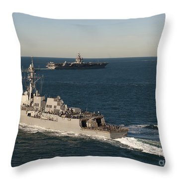 Uss James E. Williams Is Underway Throw Pillow by Stocktrek Images