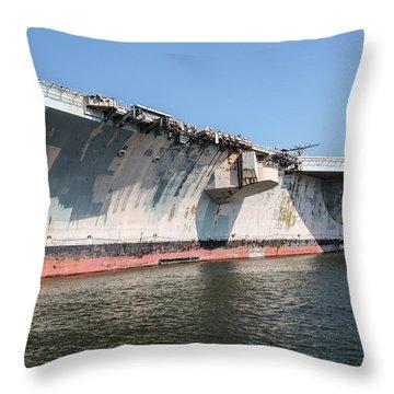Uss John F. Kennedy Throw Pillow by Susan  McMenamin