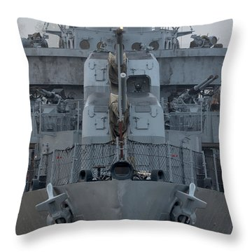 Uss Kidd Dd 661 Front View Throw Pillow by Maggy Marsh