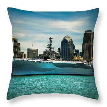 Uss Midway Museum Cv 41 Aircraft Carrier Throw Pillow by Claudia Ellis
