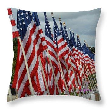 Uss Missouri Flags Throw Pillow by Renie Rutten