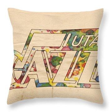 Utah Jazz Retro Poster Throw Pillow by Florian Rodarte