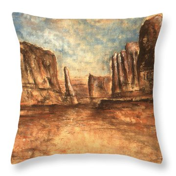 Utah Red Rocks - Landscape Art Painting Throw Pillow