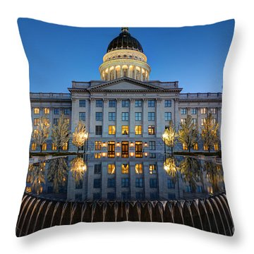 Utah State Capitol In Reflecting Fountain At Dusk Throw Pillow by Gary Whitton