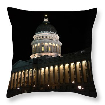 Throw Pillow featuring the photograph Utah State Capitol East by David Andersen