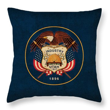 Utah State Flag Art On Worn Canvas Throw Pillow by Design Turnpike