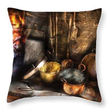 Utensils - Colonial Kitchen Throw Pillow by Mike Savad