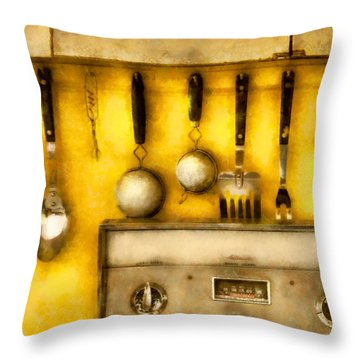 Utensils - The Kitchen  Throw Pillow by Mike Savad