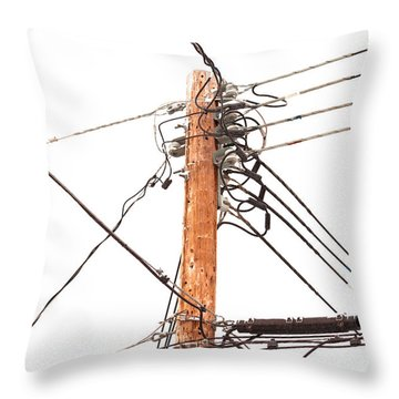 Utility Pole Hung With Electricity Power Cables Throw Pillow