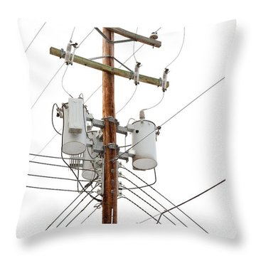 Utility Pole With Power Cables And Transformers Throw Pillow