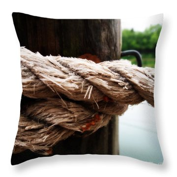 Throw Pillow featuring the photograph V2- Weathered Rope On The Dock  by Deborah Fay