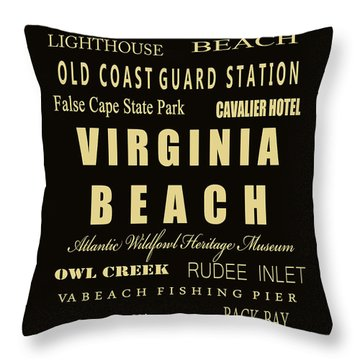 Va Beach Subway Bus Tram Scoll Typography Throw Pillow