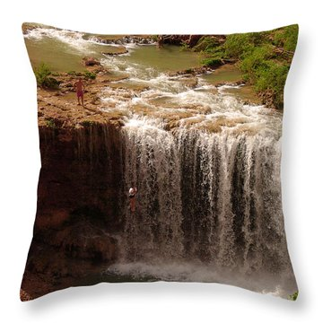 Vacation At Lower Navajo Falls Throw Pillow