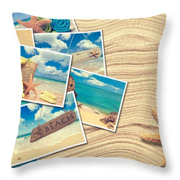 Vacation Postcards Throw Pillow by Amanda Elwell