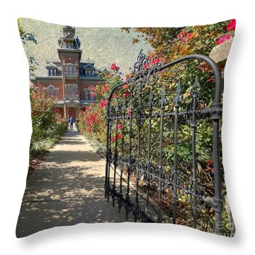 Vaile Landscape And Gate Throw Pillow by Liane Wright