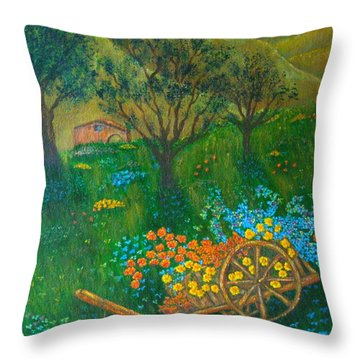 Val D'orcia Throw Pillow by Pamela Allegretto