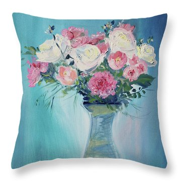 Throw Pillow featuring the painting Valentine Bouquet by Asha Carolyn Young