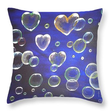Valentine Bubbles Throw Pillow
