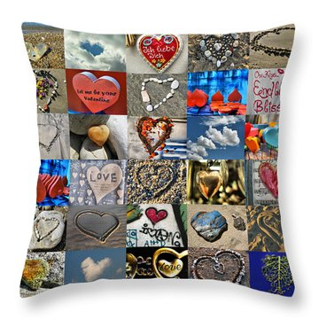 Valentine - Hearts And Memories   Throw Pillow by Daliana Pacuraru