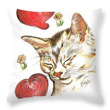Valentine Cat Throw Pillow by Teresa White