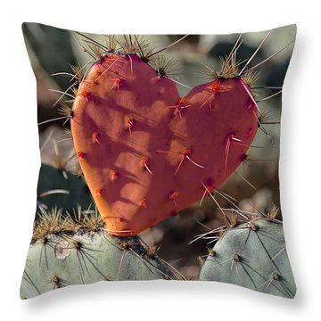 Valentine Prickly Pear Cactus Throw Pillow
