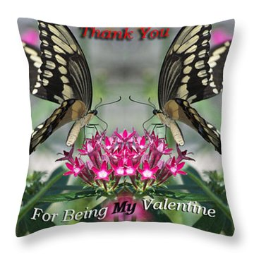 Valentine Thank You Throw Pillow by Thomas Woolworth