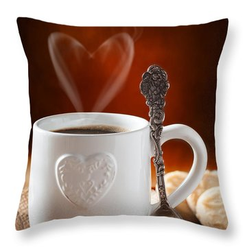 Valentine's Day Coffee Throw Pillow by Amanda Elwell