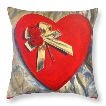 Valentine's Heart Throw Pillow by Chrissey Dittus