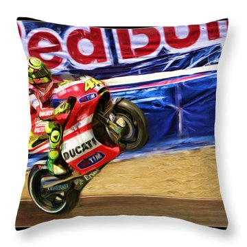 Valentino Rossi Ducati Throw Pillow