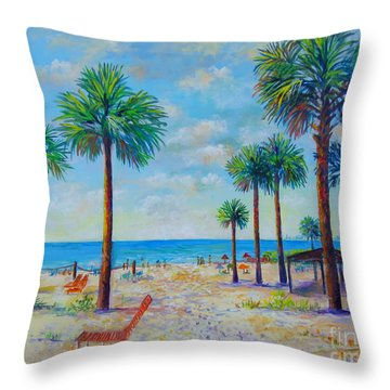 Valerie's View Of Siesta Key Throw Pillow by Lou Ann Bagnall