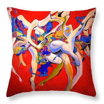 Throw Pillow featuring the painting Valkyries by Georg Douglas