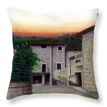 Throw Pillow featuring the painting Vallecchia De Monte Calvo by Albert Puskaric