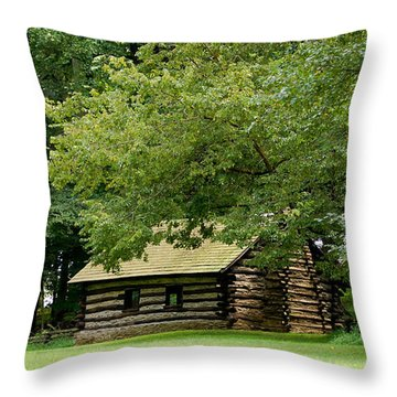 Valley Forge Cabin Throw Pillow by Sherlyn Morefield Gregg