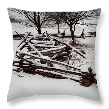 Valley Forge Snow Throw Pillow by Michael Porchik