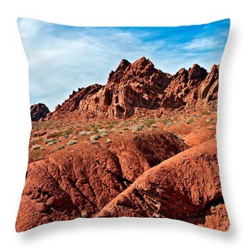 Valley Of Fire Pano Throw Pillow