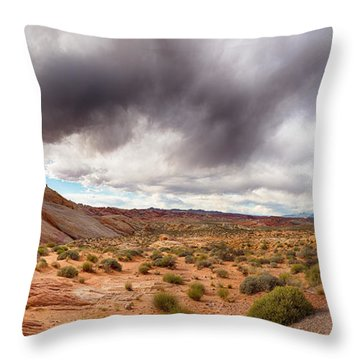 Valley Of Fire With Dramatic Sky Throw Pillow by Jane Rix