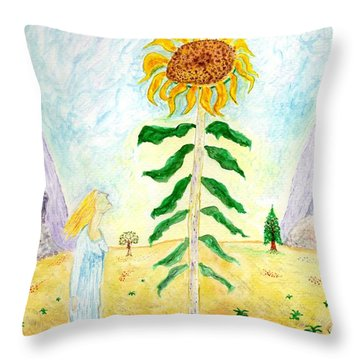 Valley Of The Mammoth Sunflowers Throw Pillow