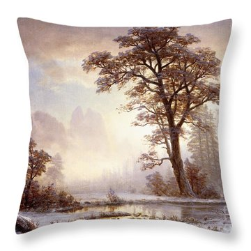Valley Of The Yosemite Snow Fall Throw Pillow by Albert Bierstadt