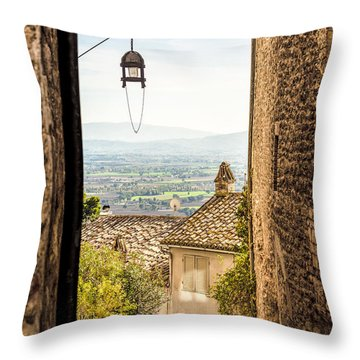 Valley Outside Assisi Throw Pillow