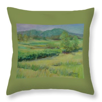 Valley Ranch Rural Western Landscape Painting Oregon Art  Throw Pillow