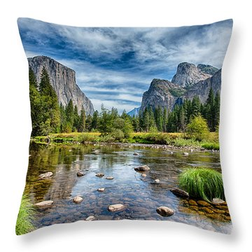 Valley View And The Merced Throw Pillow