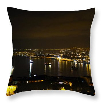 Valparaiso Harbor At Night Throw Pillow by Kurt Van Wagner