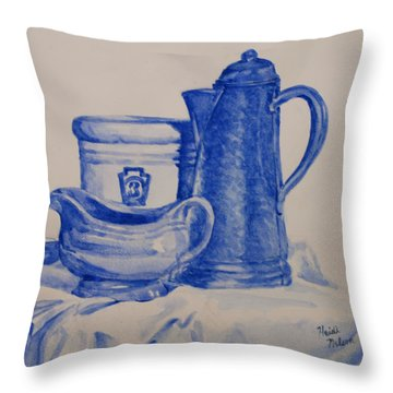 Value Study In Blue Throw Pillow by Heidi E  Nelson