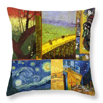 Van Gogh Collage Throw Pillow by Philip Ralley