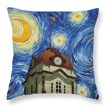 Van Gogh Courthouse Throw Pillow