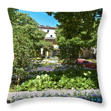 Throw Pillow featuring the photograph Van Gogh - Courtyard In Arles by Allen Sheffield