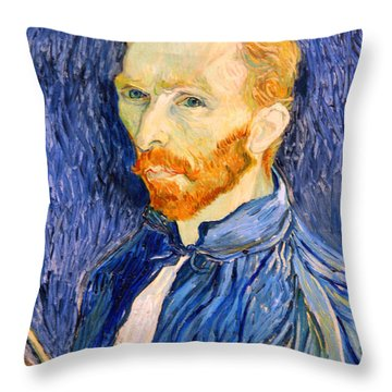 Throw Pillow featuring the photograph Van Gogh On Van Gogh by Cora Wandel
