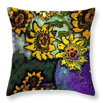 Van Gogh Sunflowers Cover Throw Pillow by Carol Jacobs