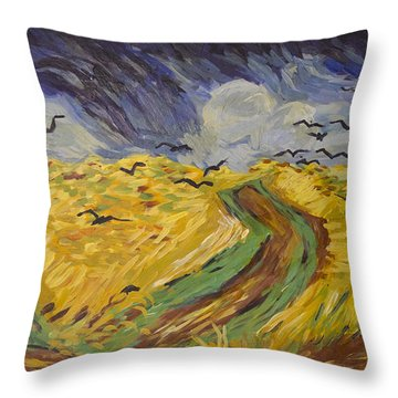 Van Gogh Wheat Field With Crows Copy Throw Pillow