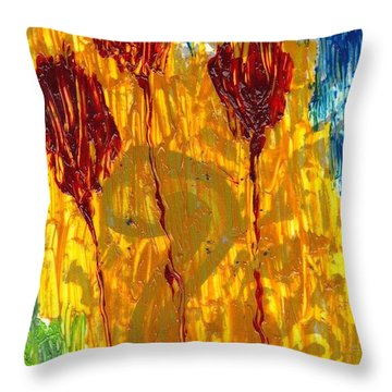 Van Gogh's Garden Of Eden Throw Pillow by Lesley Fletcher